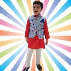 Thiya Kids Ethnic Wear Kurta Pyjama And Anchor Navy Print Nehru Jacket Set, Size: S,L