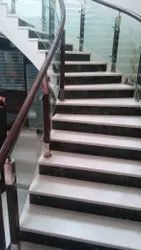 Flat glass Teak wood Railing with 12 MM toughen Bend Glas SS with wooden vertical, For Home