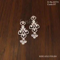 Fusion Arts American Diamond Rose Gold Hanging Earring