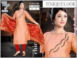 Silk Anarkali Ladies Printed Cotton Suit, Handwash