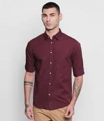 Round Full Sleeves Men's Brown Plain Shirt