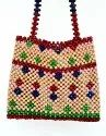 Designer Collection Wooden Beads Ladies Fancy Colored Bag