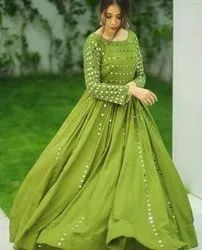 Full Sleeve Indian Ethnic Designer Rayon Mirror Work Party Wear Green Gown, Wash Care: Handwash