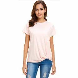 Half Sleeve Round Women Pink T Shirt