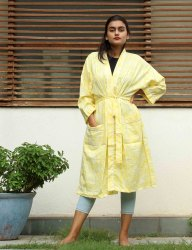 Light Yellow cotton Short Kimono Robe