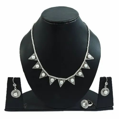 Pearl Set 925 Sterling Silver Jewelry Set