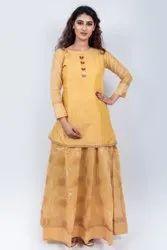 Stitched Yellow Golden Print Chanderi Ladies Suit, Handwash