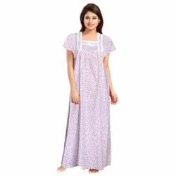 White Printed Ulhasnager Nighty, Size: Free Size