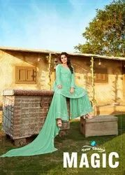 Your Choice Magic Georgette Sharara Style Salwar Suit Catalog