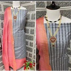 Unstitched Churidar Soft Silk Ladies Suit, Machine wash