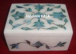 Antique Marble With Natural Green Mother Of Pearl Leaf Design Jewelry Box