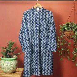 Casual Printed Janasya Men's Blue Cotton Kurta(MEN5012), Mandarin Collar
