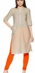 Cotton Plain Ladies Orange Churidar Legging