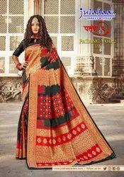 Soft Silk Checks Weaving Ikkat Print Sarees