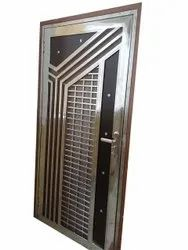 Polished Designer Stainless Steel Sheet Door, For Home, Office, Single