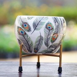 白色铁米纳金属锅,用于装饰,尺寸:15厘米