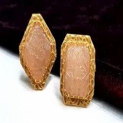 Big Carving Semi Precious Stone Ear Tops.