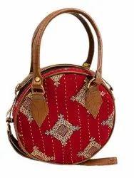 Fashionable Red Ikat Kantha Round Sling Handbag