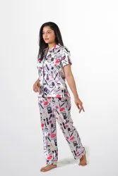 Satin Ladies Makeup Print Pyjama Night Suit Set