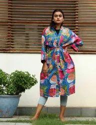 cotton Blue Fruit Print Short kimono Robe, Size: Free