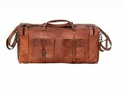 Brown Leather Duffle 2 Pocket Bag