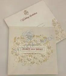 Embossed White Flower Pearl Foil Screen Printed Wedding Card Invitation Card