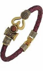 SSGJ Rudraksha Om Trishul Leather Bracelet For Men And Women
