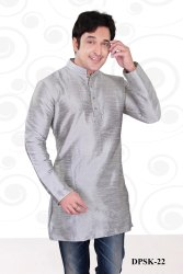 Stitched Grey Plain Mens Short Kurta