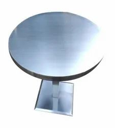 Silver Polished Stainless Steel Round Table, For Restaurant