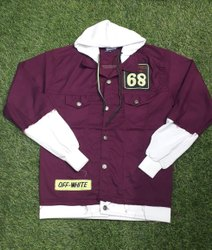 Men Purple Cotton Hooded Jacket