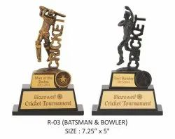 Cricket Batsman Bowler Resin Sports Trophy