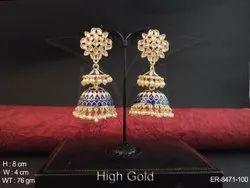 Triangular Jhumki Antique Earrings