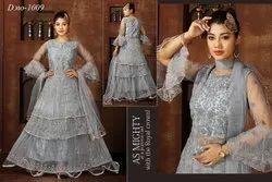Embroidery Grey Ladies Designer Net Gown
