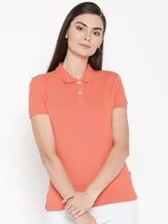 Harbornbay Half Sleeve Women Solid Polo Collar T-shirt