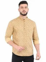Multicolor Cotton Mens Fancy Short Kurta, Mandarin Collar