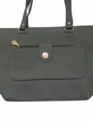 Women Plain Black Leather Ladies Bag