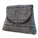 Black, White And Blue Cotton And Pu Leather Trendy Ikat Sling Crossbody Bag