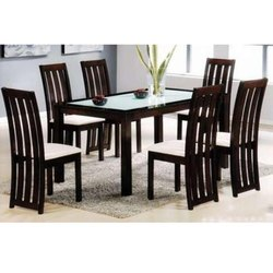 Wood,Glass And Fabric Black & White Wooden Dining Table Set, For Home