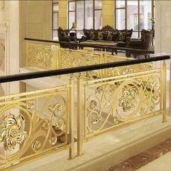 Wrought Iron Golden Balcony Railing