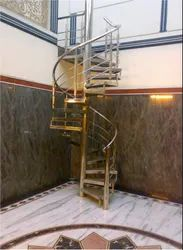 Silver SS Home Stairs Railing, For Home,Office Hotel, Mounting Type: Floor
