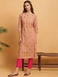 Janasya Women's Brown Cotton Kurta(JNE3628)