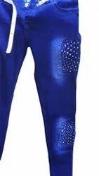 Skinny Button Ladies Blue Party Wear Dobby Jeans, Waist Size: 28