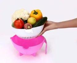 Vegetables And Fruit Draining Strainer Detachable Double Layer Drain Basket-handle Double Layer Bowl