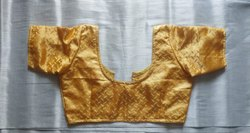 Stitched Printed Golden Silk Blouse
