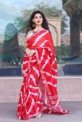 RR Fabric Casual Wear Cotton Linen Red Printed Sarees, 6.3 m (with blouse piece)