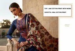 Lt Nitya Silk Printed Dupatta Suits, For Noreen, Machine wash