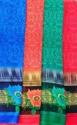 Casual Wear Border Saree, 6 m (with blouse piece)