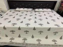 Palm Tree Block Printed Bedsheet