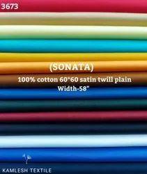 Sonata 100% Cotton Satin Twill Plain Shirting Fabric