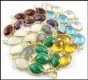 Gemstone Marquise Shape Gold Plated Bezel Set Pendant, Size: 12x8mm